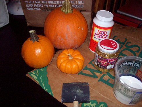 Pumpkins and supplies