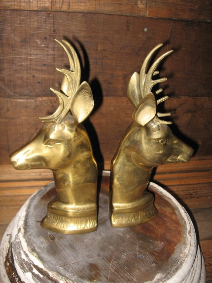 Vintage brass deer bookends