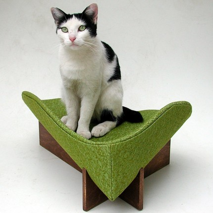 Retro modern pet bed in textured avocado