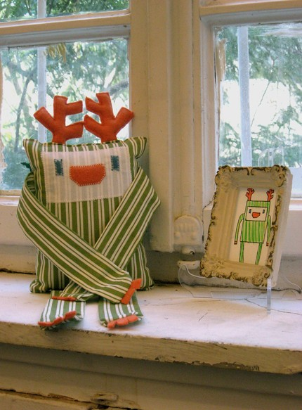 Plush reindeer green stripes