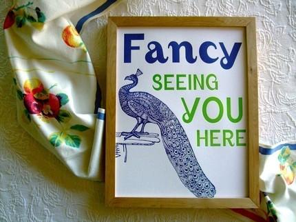 Letterpress Peacock Poster