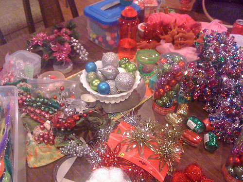 this is the before pic of our supplies each of us brought a huge bag of goodies and no one had a plan a perfect recipe for crafty goodness